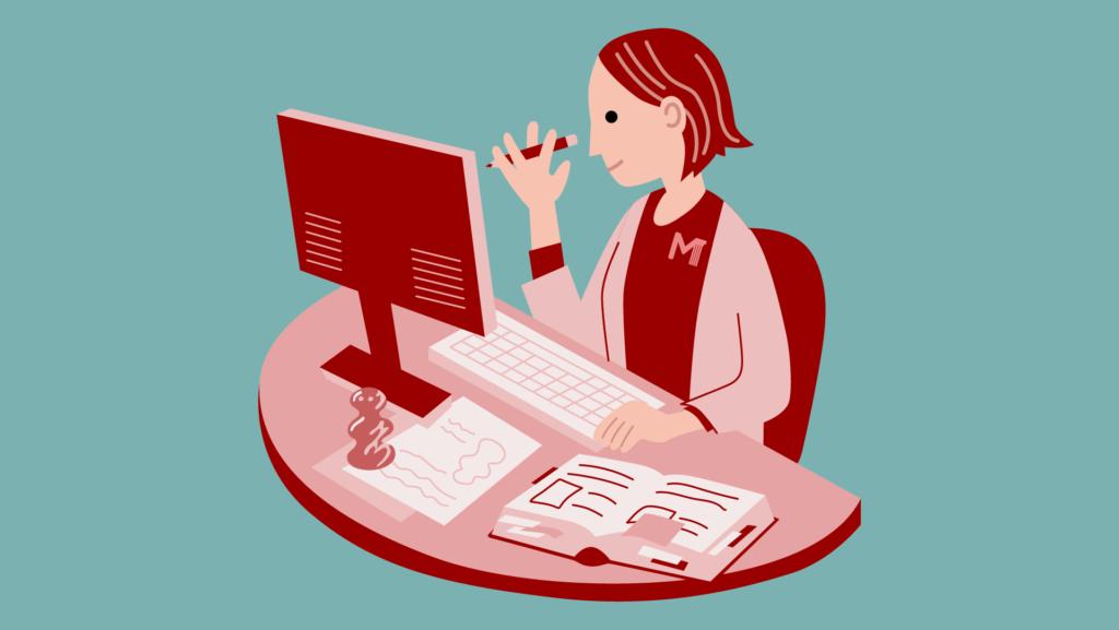 Piirroskuva tutkijasta, joka tekee työtä tietokoneen ääressä.