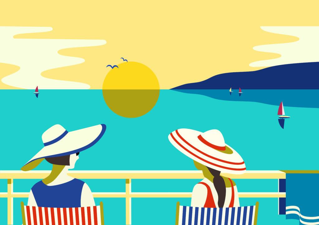 Piirroskuva, jossa kaksi henkilöä istuu parvekkeella ja katsoo auringonlaskua merellä.